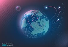 Abstract image of points and lines. Digital space. Planet Earth and the Moon. Communication, Internet. Blue background. stock illustration
