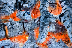 The glow of embers. Close up photo Stock Photography
