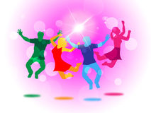 Glow Fun Indicates Light Burst And Jump. Joy Glow Representing Light Burst And Youngsters Royalty Free Stock Photos