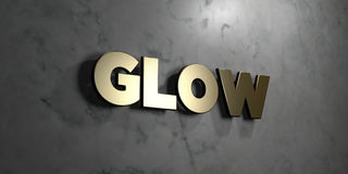 Glow - Gold sign mounted on glossy marble wall  - 3D rendered royalty free stock illustration Royalty Free Stock Photo
