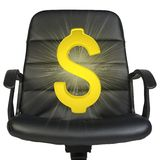 Glow golden dollar on chair Royalty Free Stock Image