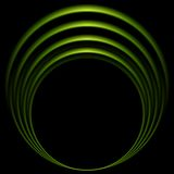 Glow green curve logo on black background Stock Images