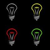 Glow Lamp. On black background stock illustration