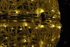 Glow lamp, closeup 2. Metal lamp with small light bulbs, glow Stock Photos