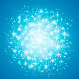 Glow light effect  on blue background. Vector illustration. Christmas flash Concept. Star burst with sparkles Royalty Free Stock Images