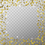 Glow light effect and golden foil hearts isolated on the transparent background for Valentines day photo overlays and decoration. Stock Photos