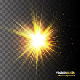 Glow light effect. Golden lights. Vector illustration Stock Photos