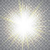 Glow light effect. Golden lights. Vector illustration Royalty Free Stock Photo