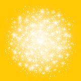 Glow light effect isolated on yellow background. Vector illustration. Christmas flash Concept. Star burst with sparkles Stock Photos
