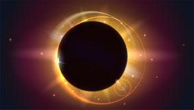 Glow light effect. The planet covering the Sun in eclipse, Moon passes between planet Earth and Sun. Solar eclipse. Astronomical phenomenon - full sun eclipse Stock Photos
