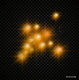 Glow light effect with rays and shine particles, bright light effect on a transparent background, light effect. Glow light effect with rays and shine particles Royalty Free Stock Photo