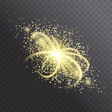 Glow light effect. Star burst with golden sparkles. Glitter texture. Vector explosion illustration. Golden rays, cosmic comet isolated on dark background Royalty Free Stock Photos