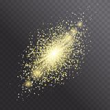 Glow light effect. Star burst with golden sparkles. Glitter texture. Vector explosion illustration. Golden rays, cosmic comet isolated on dark background Royalty Free Stock Images