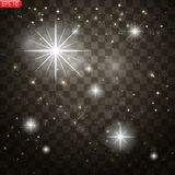 Glow light effect. Star burst with sparkles stock illustration