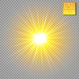 Glow light effect. Star burst with sparkles. Golden glowing lights. Vector royalty free illustration