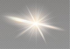 Glow light effect. Star burst with sparkles. Vector illustration. Royalty Free Stock Images