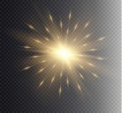 Glow light effect. Star burst with sparkles. Vector illustration. Royalty Free Stock Photos