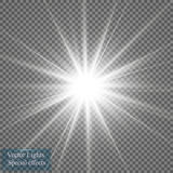 Glow light effect. Star burst with sparkles. Vector illustration. Sun Stock Images