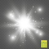 Glow light effect. Starburst with sparkles on transparent background. Vector illustration. Sun Royalty Free Stock Photo