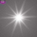 Glow light effect. Starburst with sparkles on transparent background. Vector illustration. Sun Royalty Free Stock Photography