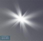 Glow light effect. Starburst with sparkles on transparent background. Vector illustration. Stock Images