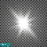 Glow light effect. Starburst with sparkles on transparent background. Vector illustration. Royalty Free Stock Photos