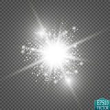 Glow light effect. Starburst with sparkles on transparent background. Vector illustration. Stock Photos