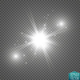 Glow light effect. Starburst with sparkles on transparent background. Vector illustration. Royalty Free Stock Images