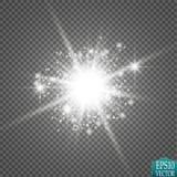 Glow light effect. Starburst with sparkles on transparent background. Vector illustration. Stock Image