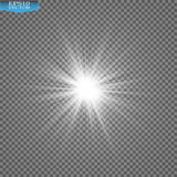 Glow light effect. Starburst with sparkles on transparent background. Vector illustration. Stock Photography