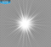 Glow light effect. Starburst with sparkles on transparent background. Vector illustration. Stock Photo
