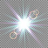 Glow light effect. Starburst with sparkles on transparent background. Vector illustration. Sun. Christmas flash. dust. Eps10. Glow light effect. Starburst with Stock Image