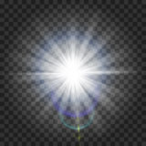 Glow light effect. Starburst with sparkles on transparent background. Vector illustration. Sun. Christmas flash. dust Royalty Free Stock Photography