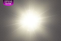 Glow light effect. Starburst with sparkles on transparent background. Vector illustration. Sun, EPS 10. Glow light effect. Starburst with sparkles on transparent Royalty Free Stock Images