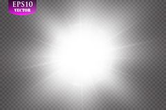 Glow light effect. Starburst with sparkles on transparent background. Vector illustration. Sun, EPS 10. Glow light effect. Starburst with sparkles on transparent Stock Images