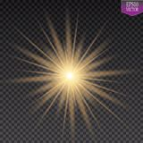 Glow light effect. Starburst with sparkles on transparent background. Vector illustration. Sun. EPS 10 Royalty Free Stock Photography