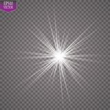 Glow light effect. Starburst with sparkles on transparent background. Vector illustration. Sun. EPS 10 Royalty Free Stock Images