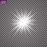 Glow light effect. Starburst with sparkles on transparent background. Vector illustration. Sun. EPS 10 Royalty Free Stock Image