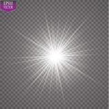 Glow light effect. Starburst with sparkles on transparent background. Vector illustration. Sun. EPS 10 Stock Image