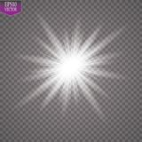 Glow light effect. Starburst with sparkles on transparent background. Vector illustration. Sun. EPS 10 Royalty Free Stock Photo