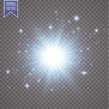 Glow light effect. Starburst with sparkles on transparent background. Vector illustration. Sun. EPS 10 Stock Photos