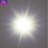Glow light effect. Starburst with sparkles on transparent background. Vector illustration. Sun. EPS 10 Stock Images