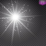 Glow light effect. Starburst with sparkles on transparent background. Vector illustration. Sun. EPS 10 Royalty Free Stock Photos