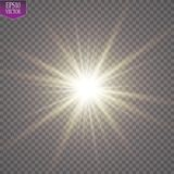 Glow light effect. Starburst with sparkles on transparent background. Vector illustration. Sun. EPS 10 Stock Photo