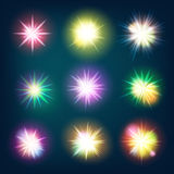 Glow light effect stars bursts. EPS 10 Royalty Free Stock Photography