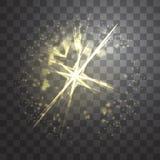 Glow light effect. Vector illustration. Christmas flash Concept. Magic light in the sky stock illustration