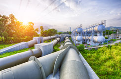 Glow light of petrochemical industry water tank Royalty Free Stock Photo