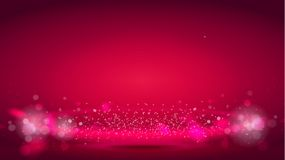 Glow light wave or light aura on red bokeh background. Abstract decorative elements for design uses. Bright radial. Effect with sparkle. Vector realistic 3d stock illustration