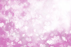 Soft Sparkling Pink Hearts Background. Pink and white soft hearts background with shining sparkles Stock Photos