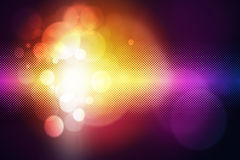Glow multicolor circles on dark background Stock Photos